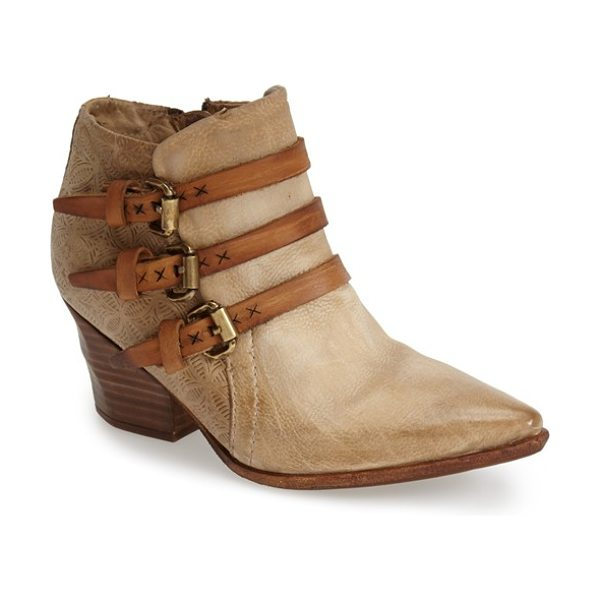A.S.98 stanford leather western bootie in sand - Contrast buckle straps and eye-catching heel embossing...