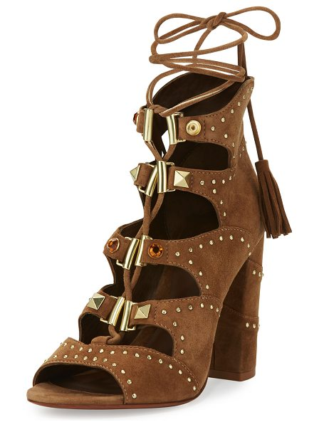 "Ash Alexa Studded Lace-Up Sandal in brown - Ash suede sandal with studded trim. 4"" covered block..."