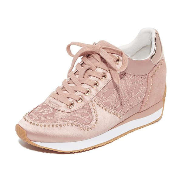 Ash blush wedge sneakers in nude/nude - Feminine Ash wedge sneakers, composed of satin and lace,...