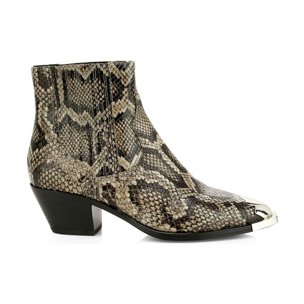 Ash floyd snakeskin-embossed leather western boots in taupe