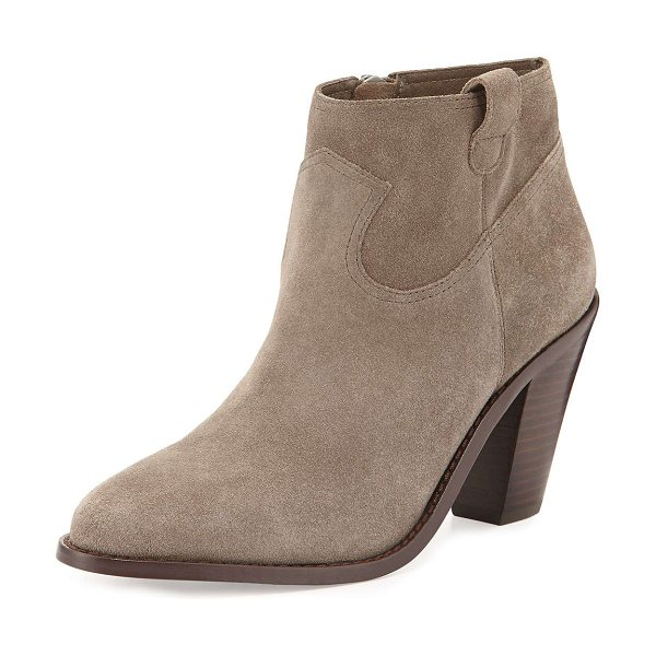 Ash Ivana suede ankle bootie in stone - Ash suede ankle bootie. Stacked chunky heel. Almond toe....