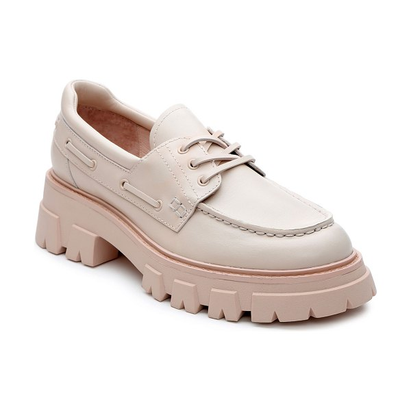 Ash Link Chunky-Heel Leather Loafers in pink salt