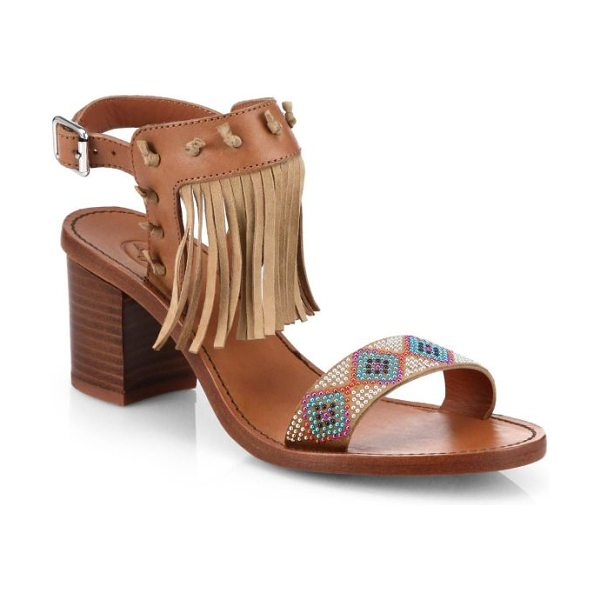Ash Patchouli beaded & fringed leather sandals in tan