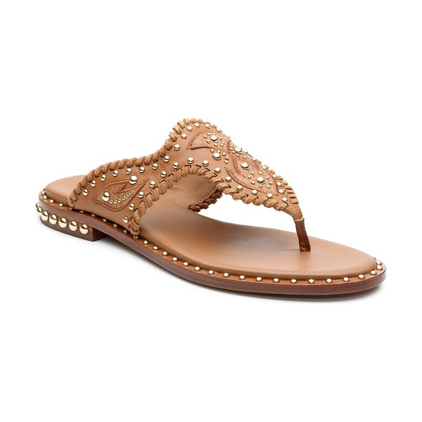 Ash Phedra Studded Topstitch Thong Sandals in new cinnamon