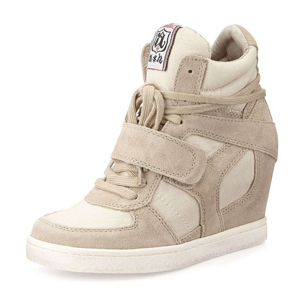 "Ash Suede wedge sneaker in clay - Ash suede and canvas wedge sneaker. Round toe. 2 1/2""..."