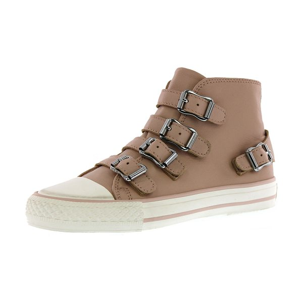 ASH Vava buckled leather high-top sneaker in powder -  Ash high-top sneaker in leather. Round cap toe. Buckled...