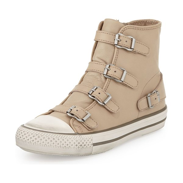 Ash Virgin buckled high-top sneaker in beige -  Ash soft leather high-top sneaker. Contrast rubber caps...