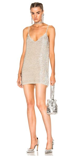ASHISH Beaded Slip Dress in metallics,white - 100% silk georgette.  Made in India.  Dry clean only. ...