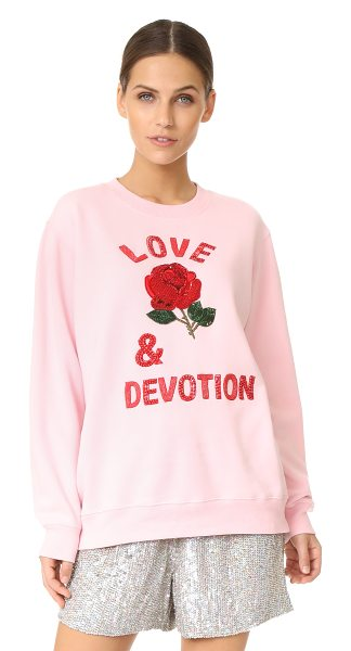 ASHISH love & devotion sweatshirt in pink - Beads and sequins bring bold, feminine detail to this...