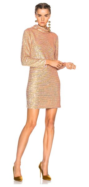 ASHISH Sequin Roll Neck Dress in metallics,pink - 100% silk georgette.  Made in India.  Dry clean only. ...