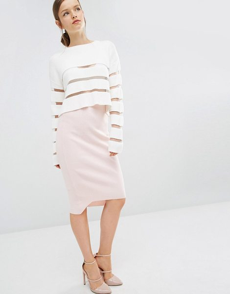 ASILIO Bridge of Lies Knitted Pencil Skirt in pink - Pencil skirt by Asilio, Ribbed knit, High-rise waist,...