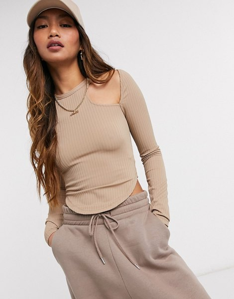 Asos 4505 long sleeve t-shirt with shoulder cutout detail-brown in brown