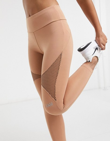 Asos 4505 mesh detail legging in camel-tan in tan