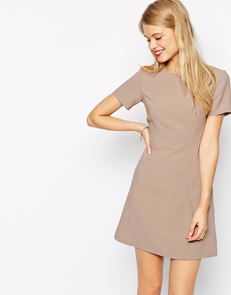 Asos 60s skater dress with seam detail in mink - Skater dress by ASOS Collection, Soft-touch woven...