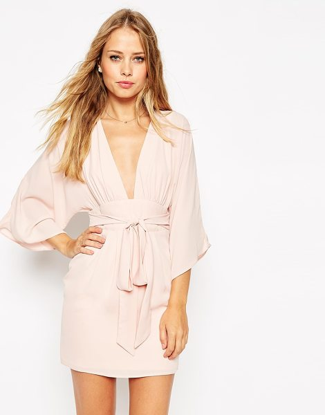 Asos 70's Belted Mini Dress in pink - Dress by ASOS Collection, Woven fabric, Deep V-plunge...
