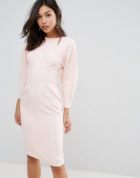 "ASOS DESIGN 80s clean dome sleeve midi pencil dress in blush - """"Dress by ASOS Collection, Smooth stretch fabric, High..."