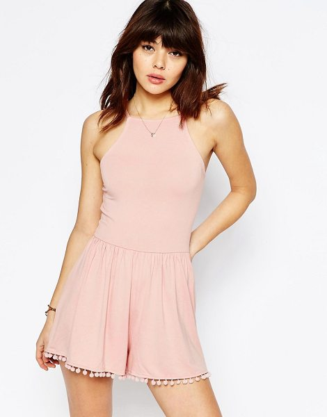 Asos 90's Strappy Romper with Tie Back and Pom Pom Hem in pink - Romper by ASOS Collection, Soft-touch jersey, Square...