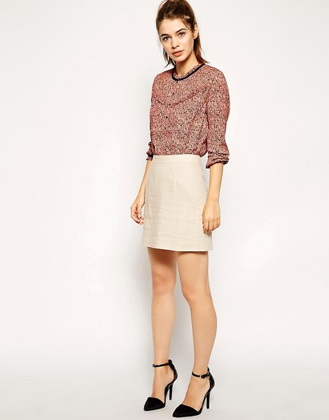Asos A-Line Linen Mini Skirt in stone - Skirt by ASOS Collection, Soft touch, lightly textured...