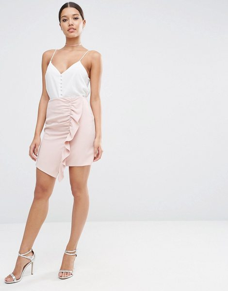 """Asos A-Line Mini Skirt with Asymmetric Ruffle in pink - """"""""Mini skirt by ASOS Collection, Stretch woven fabric,..."""