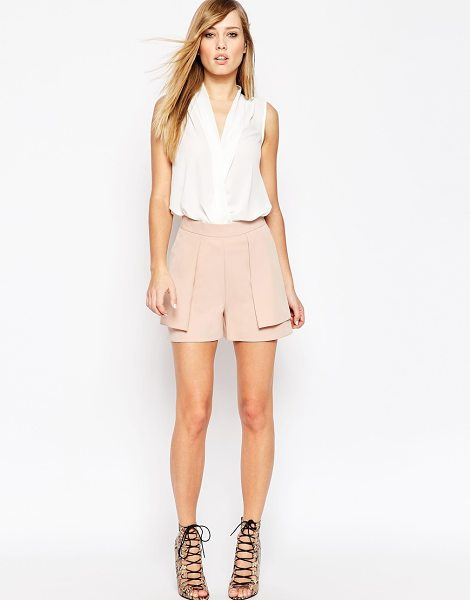 Asos A-line short with overlay in pink - Shorts by ASOS Collection, Stretch woven, High-rise...