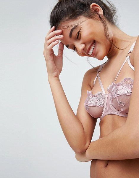 ASOS DESIGN asos alexa applique lace underwire bra in blush - Bra by ASOS Collection, Smooth satin-style fabric,...