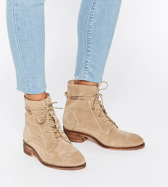 Asos ALIZA Suede Lace up Ankle Boots in beige - Boots by ASOS Collection, Suede upper, Lace-up...