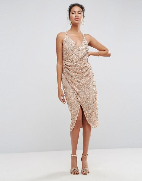 ASOS DESIGN ASOS All Over Embellished Scattered Drape Midi Dress in rosegold - Midi dress by ASOS Collection, Textured woven fabric,...