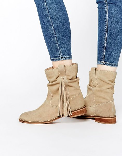 Asos ALOOK Suede Fringing Boots in beige - Boots by ASOS Collection, Suede upper, Pull-on style,...
