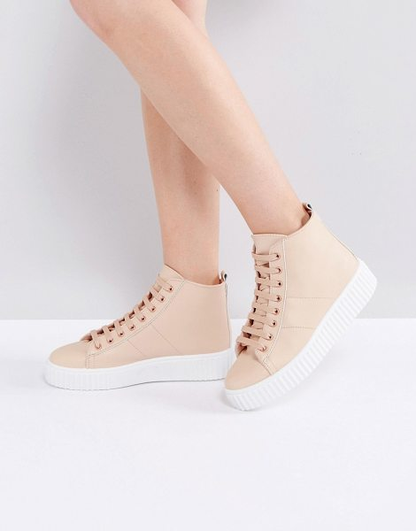 Asos ANYTIME Creeper Ankle Boots in beige - Boots by ASOS Collection, Faux-leather upper, Lace-up...