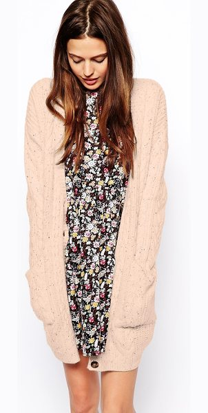 ASOS Aran cardigan in longer length - Cardigan by ASOS Collection Made from a chunky cable...