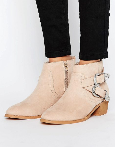 ASOS ARIZONA Western Ankle Boots - Boots by ASOS Collection, Textile upper, Faux-suede...