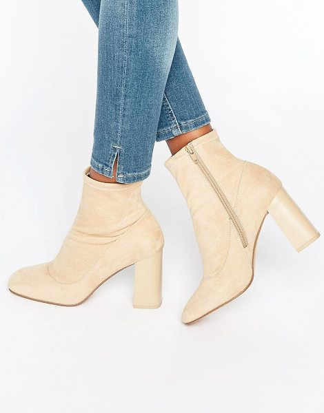 Asos EDOA Sock Boots in beige - Boots by ASOS Collection, Textile upper, Side zip...
