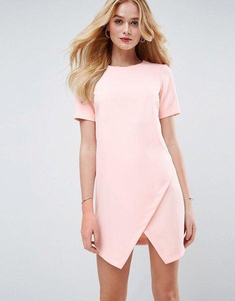 "ASOS DESIGN asos asymmetric clean shift mini dress with short sleeve in blush - """"Dress by ASOS Collection, Lightweight woven fabric,..."