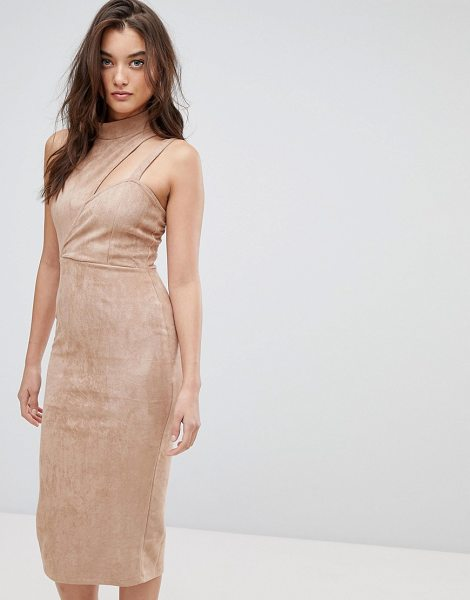 ASOS Asymmetric Cut Out Suede Midi Dress - Dress by ASOS Collection, Super-soft touch, We re feelin...