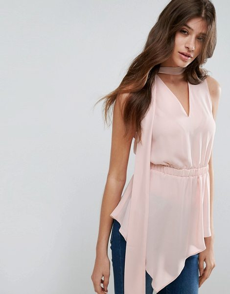 "Asos Asymmetric Sleeveless Top with Scarf Detail in pink - """"Top by ASOS Collection, Lightweight woven fabric,..."