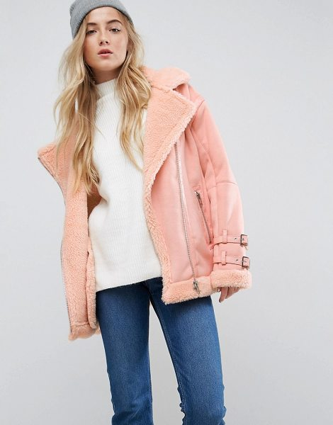 Asos Aviator Jacket in Faux Suede in coral - Jacket by ASOS Collection, Borg lining, For feeling...