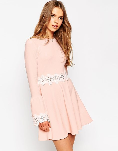Asos Babydoll dress with flared sleeve and lace trim in blush - Evening dress by ASOS Collection Smooth knitted fabric...
