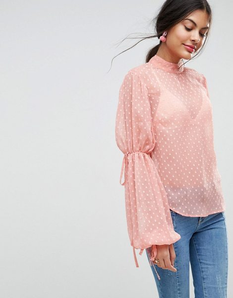 ASOS DESIGN asos balloon sleeve blouse in pink - Blouse by ASOS Collection, Dobby mesh knit, Sheer...