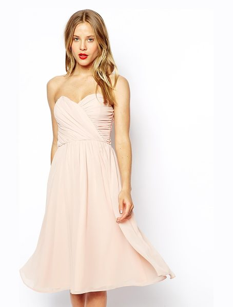 Asos Bandeau midi dress in nude - Hand Wash Only. Bodice: 100% Polyester Lining: 100%...