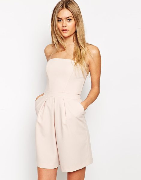 Asos Bandeau pleat front romper in pink - Romper by ASOS Collection, Lightweight lightly textured...