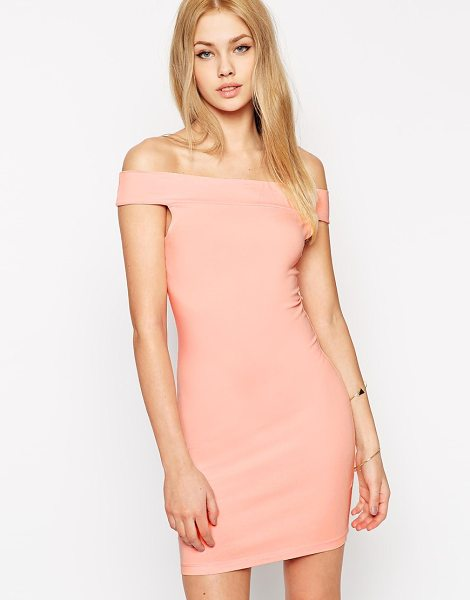 Asos Bardot body-conscious mini dress in nude - Dress by ASOS Collection Stretch jersey fabric Off...