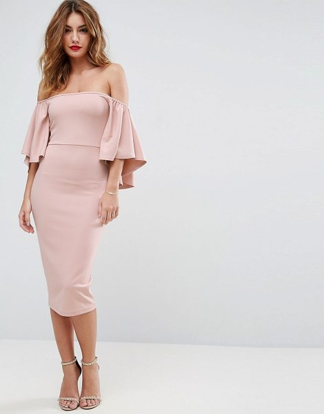 "Asos Bardot Fluted Sleeve Midi Dress in pink - """"Dress by ASOS Collection, Smooth stretch fabric,..."