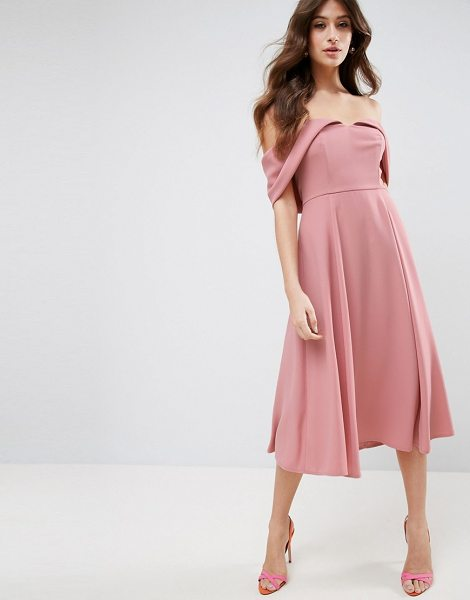 "ASOS Bardot Off Shoulder Midi Prom Dress - """"Midi dress by ASOS Collection, Lightly textured woven..."