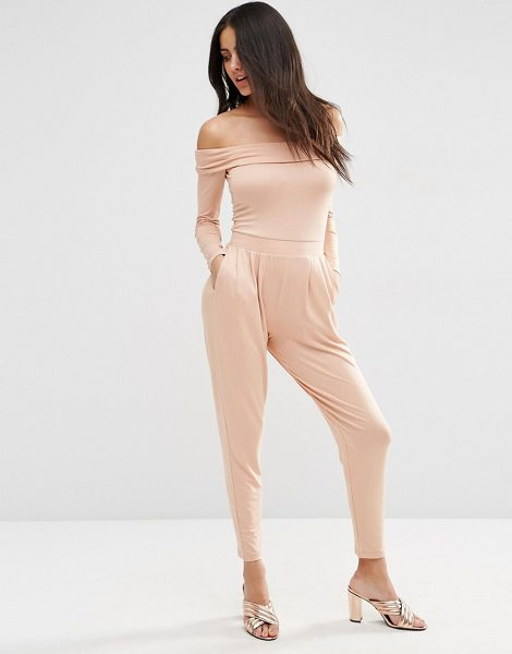 Asos Bardot Peg Leg Jersey Jumpsuit with Long Sleeve in beige