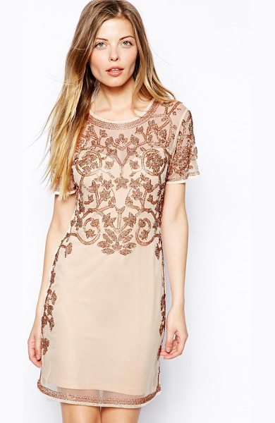 Asos Baroque embellished shift dress in nude - Hand Wash Only. Shell: 100% Polyester Lining: 100%...