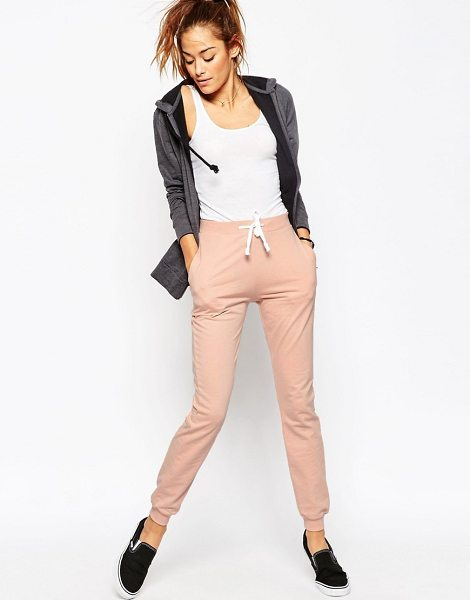Asos Basic Joggers with Contrast Tie in pink - Pants by ASOS Collection, Cotton sweat fabric,...