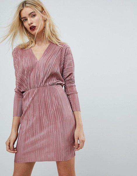ASOS DESIGN ASOS Batwing V-Neck Plisse Mini Dress in duskyrose - Mini dress by ASOS Collection, Feeling extra fancy?...