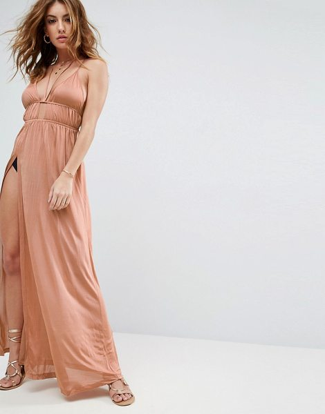 "Asos Beach Halter Slinky Maxi With Ruching in beige - """"Beach dress by ASOS Collection, Soft-touch slinky..."