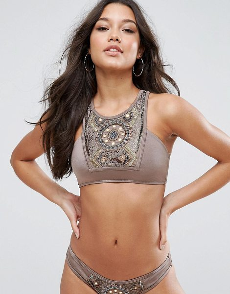Asos bead mirror embellished halter bikini top in mink - Bikini top by ASOS Collection, Stretch swim fabric, Bead...