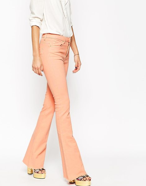Asos Bell flare jeans with raw hem in pink - Flare jeans by ASOS Collection, Firm-stretch denim,...